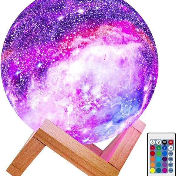 16 Color LED 3D Star Moon Light Cordless Wood Stan